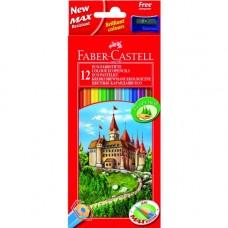 Faber-Castell. Карандаши цветные ECO ЗАМОК с точилкой, 12 цветов