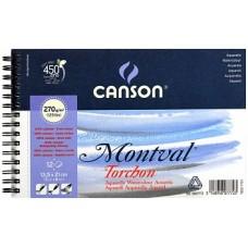 Canson Альбом для акварели Монваль 270гр/м, Снежное зерно,13.5х21 см