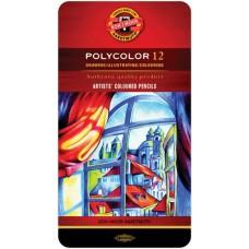 Koh-i-noor. набор цветных карандашей Polycolor, 12 цветов, в металлическом пенале.
