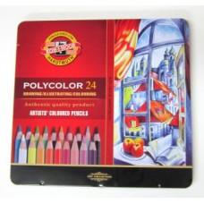 Koh-i-noor. набор цветных карандашей Polycolor, 24 цвета, в металлическом пенале.