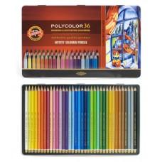 Koh-i-noor. набор цветных карандашей Polycolor, 36 цветов, в металлическом пенале.