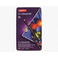 Derwent. Набор цветных карандашей Coloursoft. 12 цветов. Металлическая коробка
